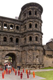 Porta Nigra with Marx Installation. 2013 in Trier Germany Stock Images
