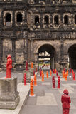 Porta Nigra with Marx Installation Stock Photo