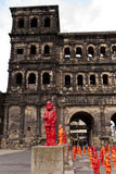 Porta Nigra with Marx Installation. 2013 in Trier Germany Royalty Free Stock Image