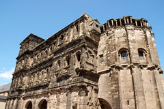 Porta Nigra in Trier. The Porta Nigra is a 2nd-century Roman city gate in Trier, Germany. It was given its name (which means black gate) in the Middle Ages Stock Image