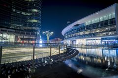 Porta Nuova - Piazza Gae Aulenti. Night scene from one of the new and most popular district in Milan named Porta Nuova or Piazzale Gae Aulenti royalty free stock photo