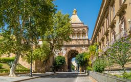 Porta Nuova, tower gate in Palermo, on a sunny summer day. Sicily, Italy. royalty free stock photography