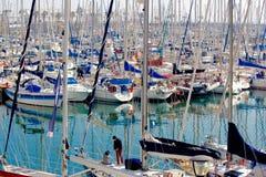 Porta Olimpic, Barcellona, Spagna immagine stock libera da diritti