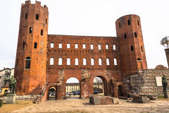 The Porta Palatina in Turin Stock Photos