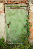 Porta, parete, rovina, vecchia, porta verde, mattone, catena Immagine Stock