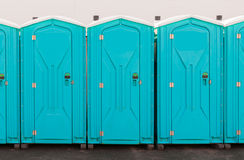 Porta Pottie Line Up royalty free stock photo