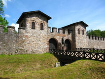Porta Praetoria, the Main Entrance Gate to the Saalburg Roman Fort near Frankfurt, Germany. The reconstructed Roman Fort, the Saalburg, was part of the Limes Royalty Free Stock Photography