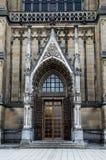 Porta principal da catedral nova neogótica (os DOM de Neuer) em Linz, Upper Austria Foto de Stock Royalty Free