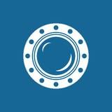 Porta redonda de la nave aislada en azul Imágenes de archivo libres de regalías