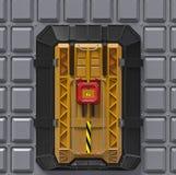 Porta reforçada muito segura do cofre-forte do interior da ficção científica com o fechamento da tela de segurança 3d rendem Fotos de Stock Royalty Free