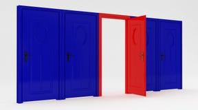 Porta rossa aperta Fotografia Stock Libera da Diritti
