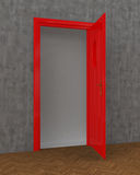 Porta rossa aperta Fotografia Stock