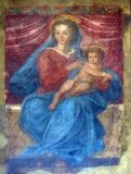 Madonna with Child. Porta San Gervasio, the inner lunette decorated by a Madonna with Child, Lucca, Tuscany, Italy Royalty Free Stock Photos