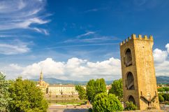 Porta San Niccolo gate tower of defensive walls on Piazza Giuseppe Poggi square in historical centre of Florence stock photo
