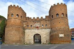 Porta San Paolo at Aventine hill in Rome, Italy. Porta San Paolo San Paolo Gate in the 3rd-century Aurelian Walls at Aventine hill in Rome, Italy stock images