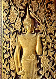 Porta scolpita del tempio Fotografie Stock