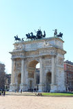 Porta Sempione / Arch of Peace in Milan Stock Images