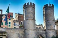 Porta Soprana,Genoa, Genoa, Italy. PORTA SOPRANA AND GENOA'S SUPERB INDEPENDENCE Royalty Free Stock Photo