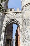 Porta Soprana in Genoa ,Italy. GENOA,ITALY-22.06.16 : Porta Soprana is the best known gate in the ancient Genoa city walls Royalty Free Stock Photos