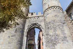 Porta Soprana in Genoa ,Italy. GENOA,ITALY-22.06.16 : Porta Soprana is the best known gate in the ancient Genoa city walls Royalty Free Stock Photo
