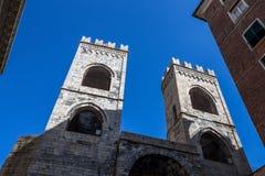 Porta Soprana or Saint Andrew`s Gate in Genoa, Italy. View of Porta Soprana or Saint Andrew`s Gate in Genoa, Italy. This is one of the old and most inportan Royalty Free Stock Photos