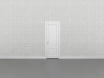 Porta sul muro di mattoni bianco, 3d Fotografia Stock