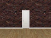 Porta sul vecchio muro di mattoni, 3d Fotografia Stock
