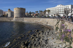 Porta Terra Tower - een Alghero - Sardinige - Italië Stock Afbeeldingen