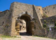 Porta tutto il ` Arco, uno degli ingressi del ` s della città, è il monumento architettonico etrusco più famoso in Volterra immagine stock