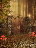 Porta a uma floresta do outono ilustração royalty free