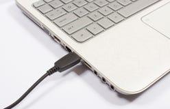 Porta USB di un computer portatile Fotografia Stock Libera da Diritti