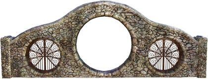 Porta velha da parede de pedra isolada ilustração stock