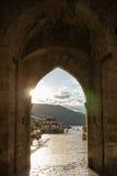 Porta velha na cidade velha em Dubrovnik Imagem de Stock
