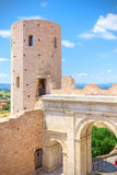 Porta Venere, city gate of Roman art in the Umbrian town of Spello, Italy Stock Image