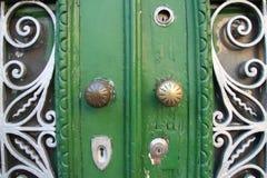 Porta verde con gli elementi decorativi Fotografia Stock Libera da Diritti
