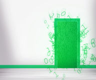 Porta verde a futuro illustrazione di stock