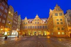 A porta verde na cidade velha de Gdansk Fotografia de Stock