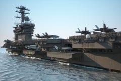 Portaaviones de la marina de guerra con un compartimiento de aviones y del equipo foto de archivo