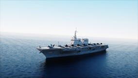 Portaaviones en el mar, océano con el combatiente Concepto de la guerra y del arma representación 3d stock de ilustración