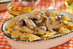 Portabello mushrooms with pasta Stock Images