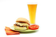 Portabello Sandwich. Juicy portabello mushroom sandwich served with an ice cold beer Royalty Free Stock Images