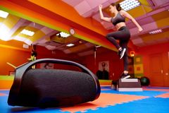 Portable acoustics in the aerobics room royalty free stock images