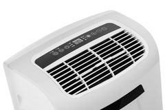 Portable air conditioner or dehumidifier isolated on white background. Studio closeup product shot of a portable air conditioner or mobile dehumidifier isolated Stock Photography