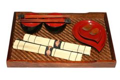 Portable aislado que cena el conjunto del chino Imágenes de archivo libres de regalías