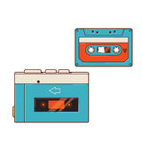 Portable audio cassette player. A cassette player and a cassette Stock Photos