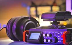 Audio recording solution for filmmakers. Linear PCM recorder royalty free stock photo