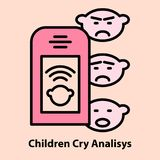 Portable baby cry analyzing. Line icon of portable baby cry analyzing. Device for pregnancy ultrasound self monitoring. Logo concept in linear style. Vector stock illustration