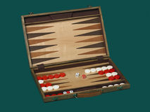 Portable backgammon. Detail view of portable backgammon isolated on green background Stock Photo