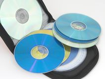 Portable bag for cd. And dvd with several cd Royalty Free Stock Photo