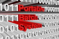 Portable batch system. In the form of binary code, 3D illustration Royalty Free Stock Image